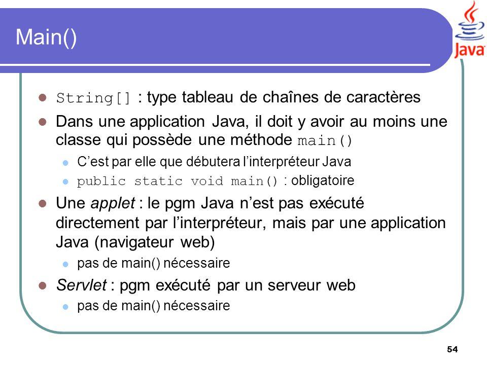 Main() String[] : type tableau de chaînes de caractères